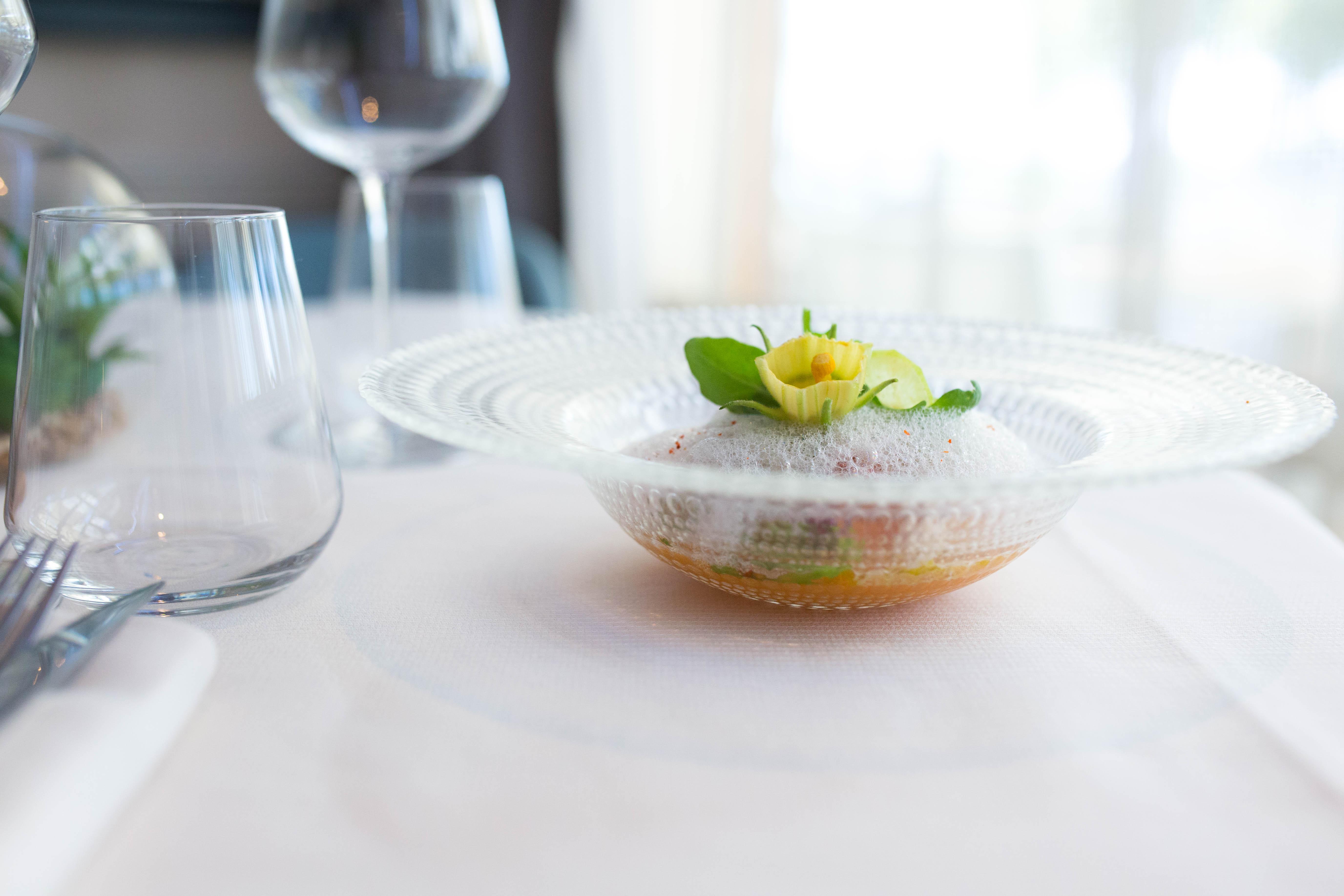 Effiloché de raie, patate douce et vinaigrette agrume-vanille